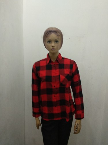 jual kemeja flannel   - Merah, Allisize