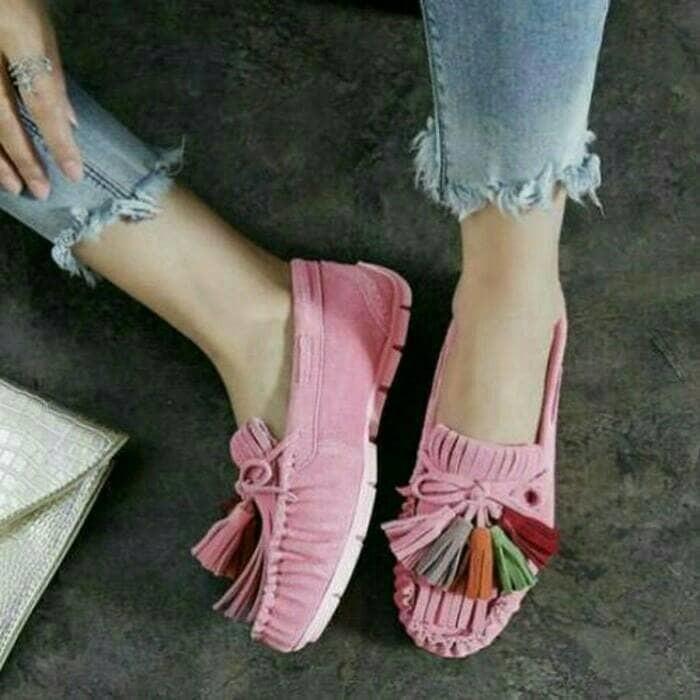 jual Sepatu Wanita Flat Shoes Rawis SDB88 Pink