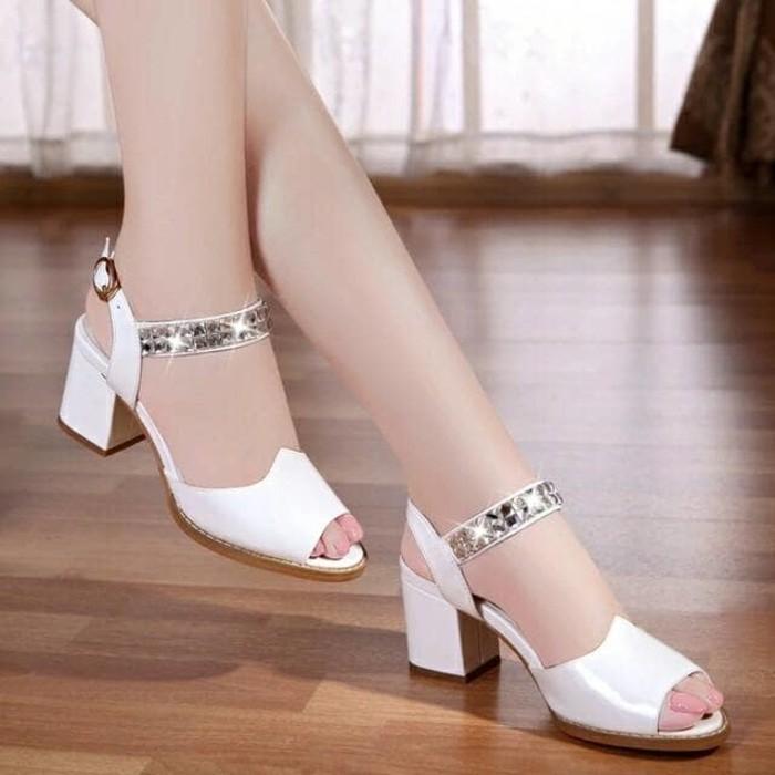 jual Sandal Wanita High Heels Hak Tahu Permata SDH168 Putih