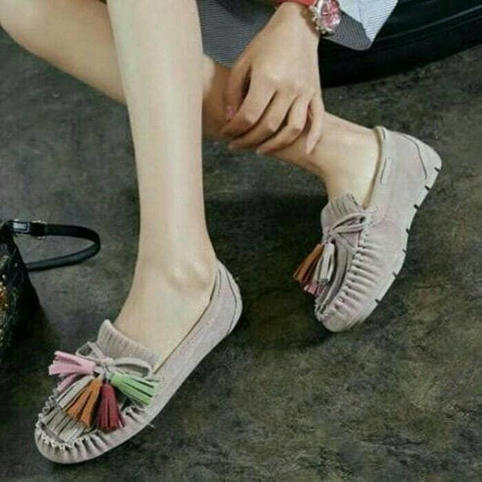 jual Sepatu Wanita Flat Shoes Rawis SDB88 Abu