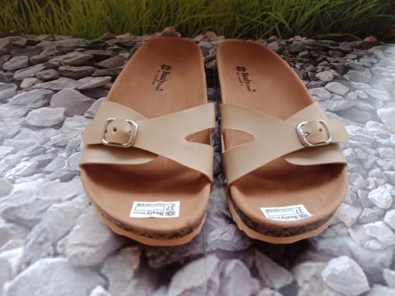 jual Sandal Wanita Flat Slop Azkia SDL70 Cream