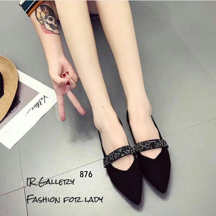 jual Sepatu Flat Shoes Wanita Gliter SDB102 Hitam