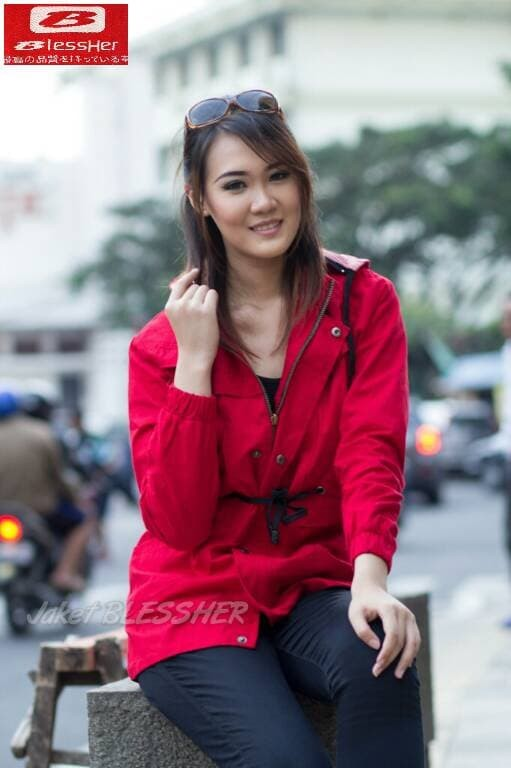 jual jaket parka wanita merah