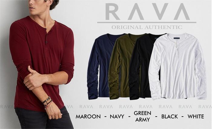 jual Baju Kaos Polos Henley Kancing Lengan Panjang RAVA (TERBAIK   - Navy
