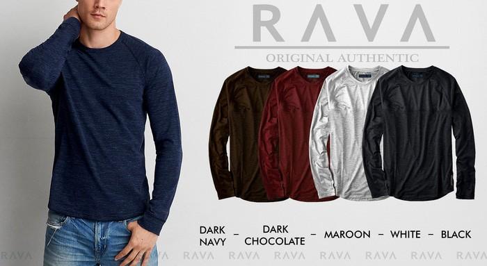 jual Baju Kaos Polos Raglan Lengan Panjang Misty (RAVA   - Maroon