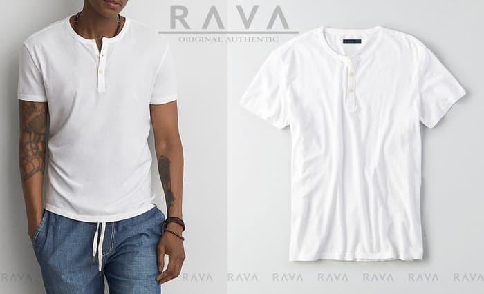 jual Baju Kaos Pria Henley Oblong   by RAVA (PROMO BEST SELLER) - Putih