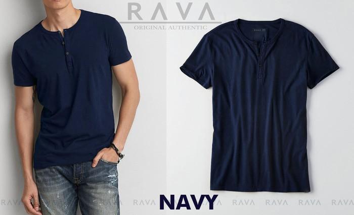 jual Baju Kaos Polos Henley Kancing Oblong RAVA   BEST SELLER) - Navy, M