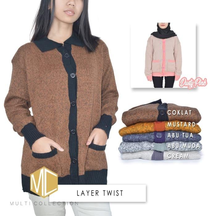 jual LAYER TWIST - baju rajut - baju wanita - baju korea - sweater rajut