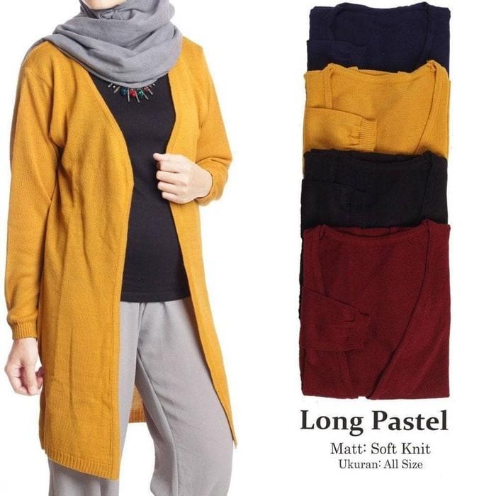 jual LONG PASTEL CARDY   fashion muslim   sweater rajut   kardigan