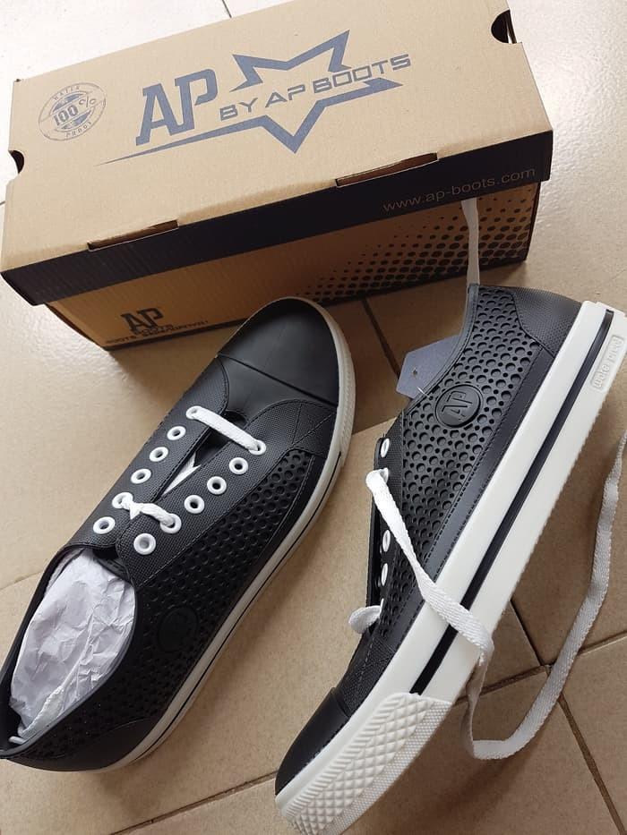 jual Sepatu ApStar AP Star By Ap Boots Karet PVC Casual Sneakers Sekolah - Hitam Putih, 38