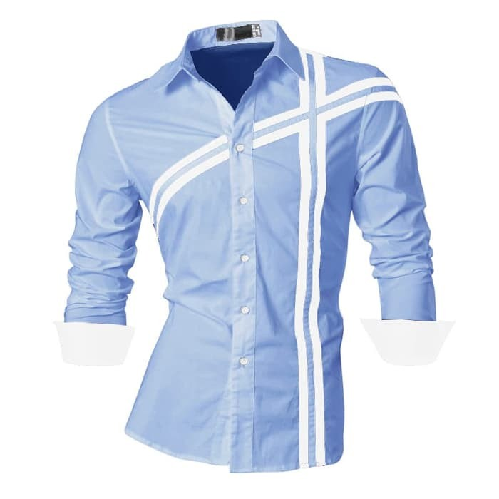 jual [DOMINO ROYAL BLUE SC] kemeja pria katun strecth biru muda