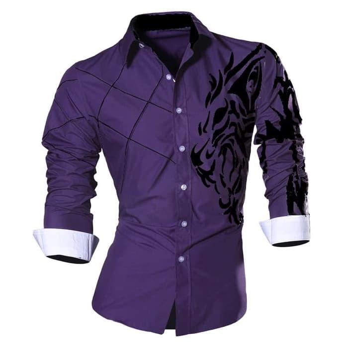 jual [KEMEJA LION PURPLE SC] kemeja pria katun stretch ungu