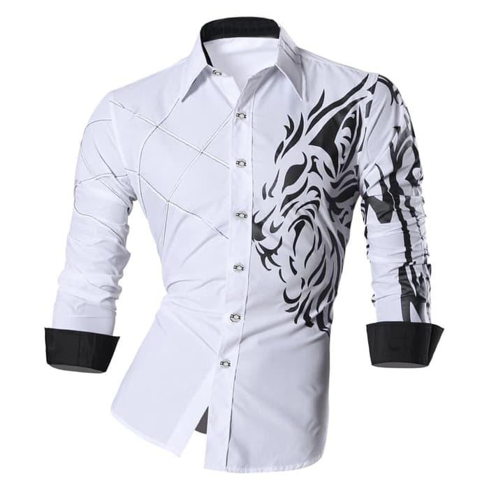 jual [KEMEJA LION WHITE SC] kemeja pria katun strecth putih