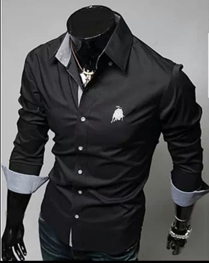 jual [KEM BLACK LOMBOGHINI SC] kemeja pria katun strecth hitam
