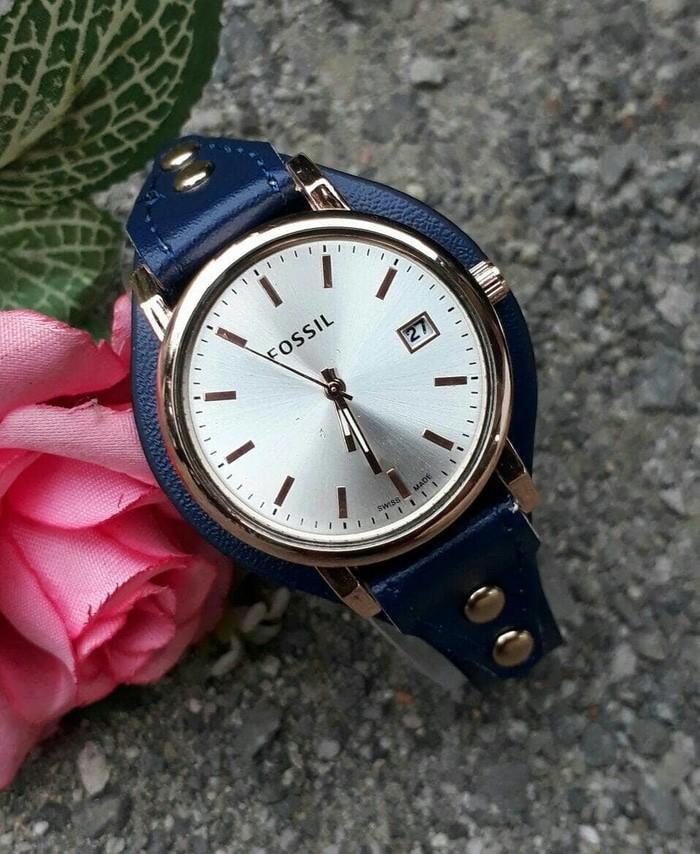 jual Jam tangan cewek murah FOSSIL tgl kulit