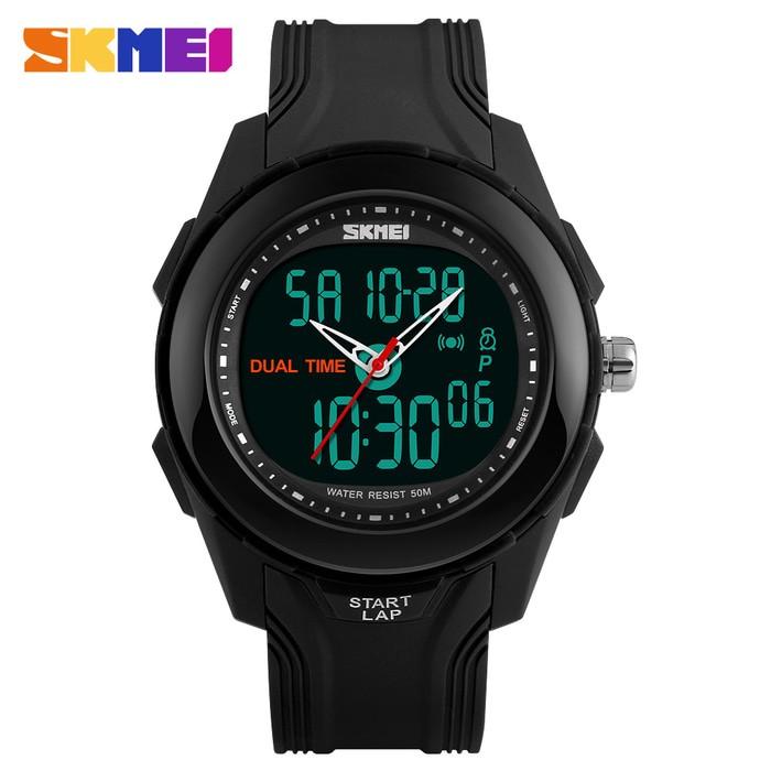 jual Jam Tangan Pria Dual Time SKMEI 1157 Original Water Resist 50M - Black