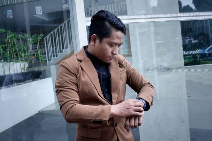 jual Blazer CAPUCINO Coklat Polos - Jas Pria Slimfit Korea FULL baru