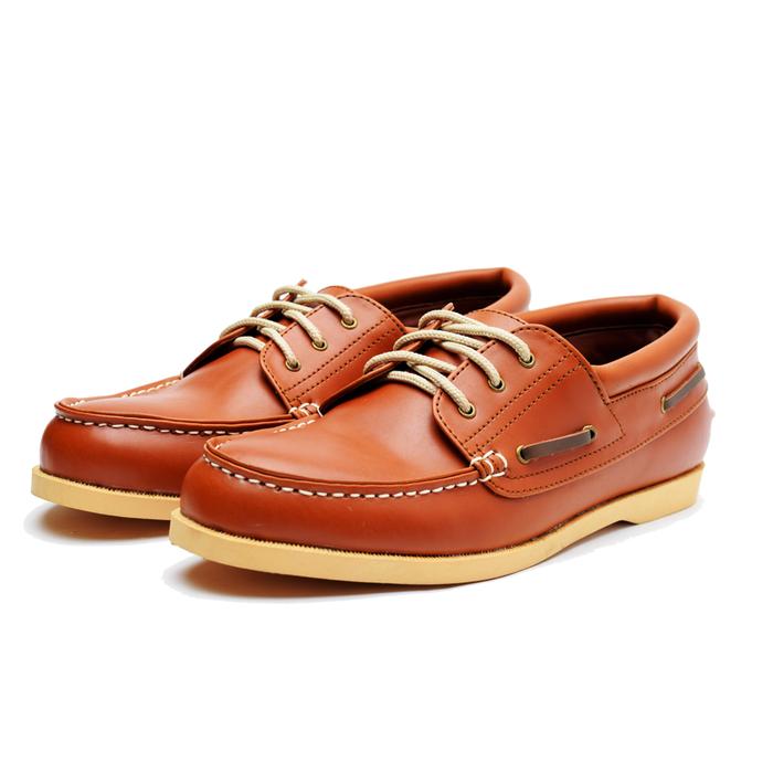 jual Sepatu kulit Casual Pria - handmade bandung rajut klasik mirip brodo - Cokelat Muda, 38