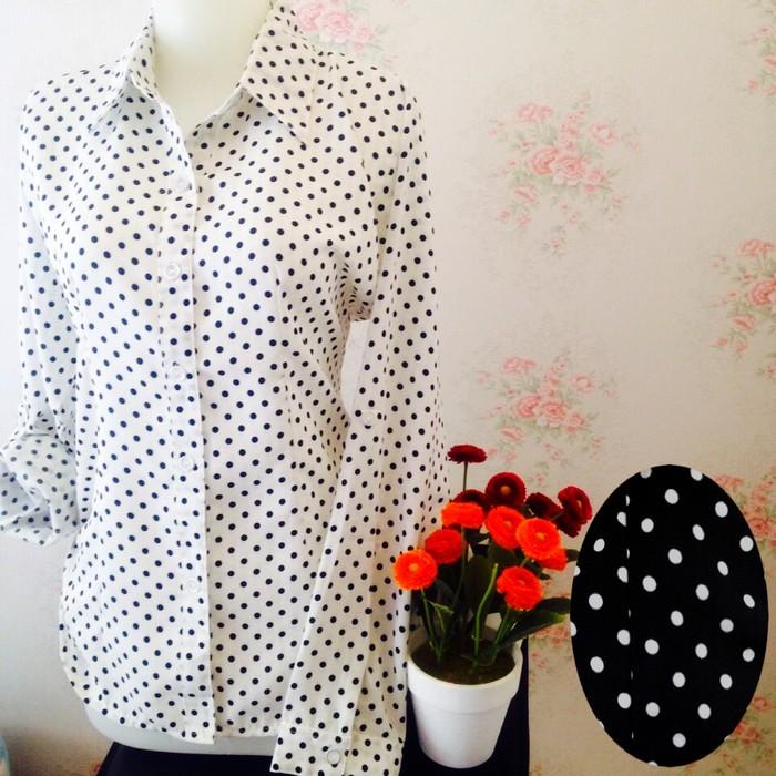 jual Kemeja blus putih hitam wanita polkadot zara lembut