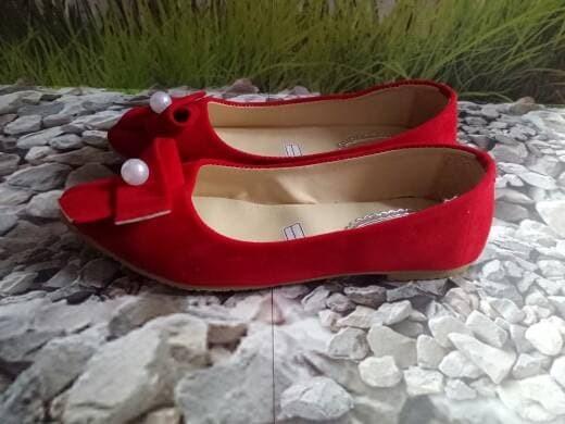 jual Sepatu Wanita Flat Shoes Dasi Mutiara SDB78