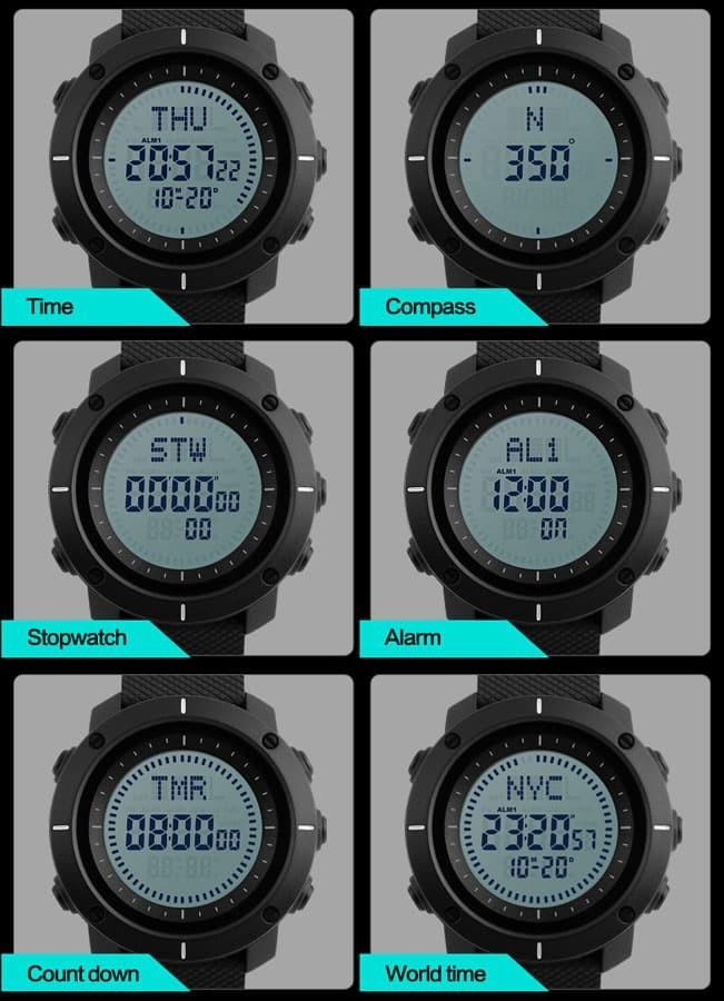 jual SKMEI 1216 COMPASS Jam Tangan Sport Original Water Resist 50M - Gray