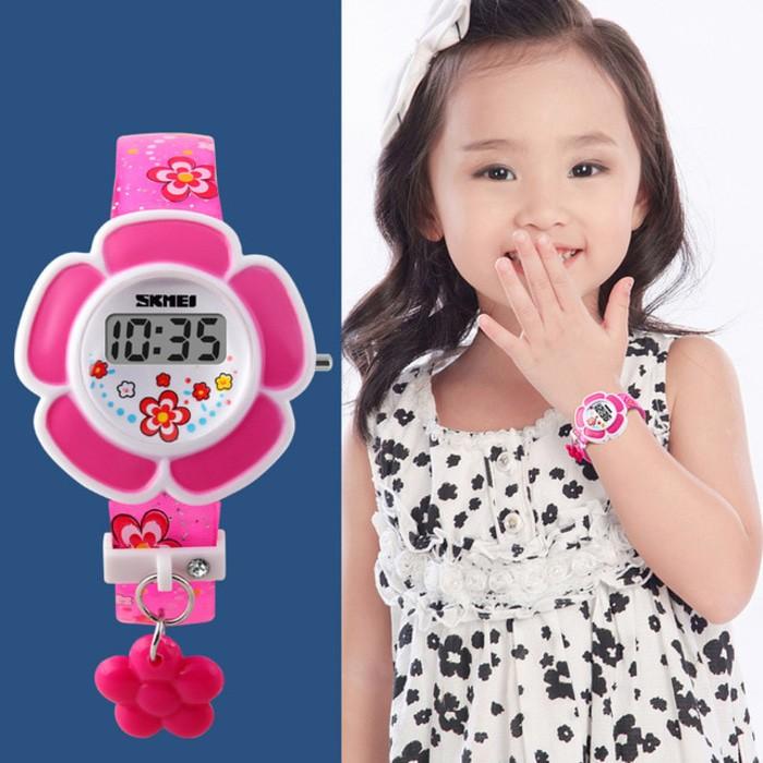 jual Jam Tangan Anak Anak Cewek Perempuan Bentuk Bunga SKMEI 1144 Original