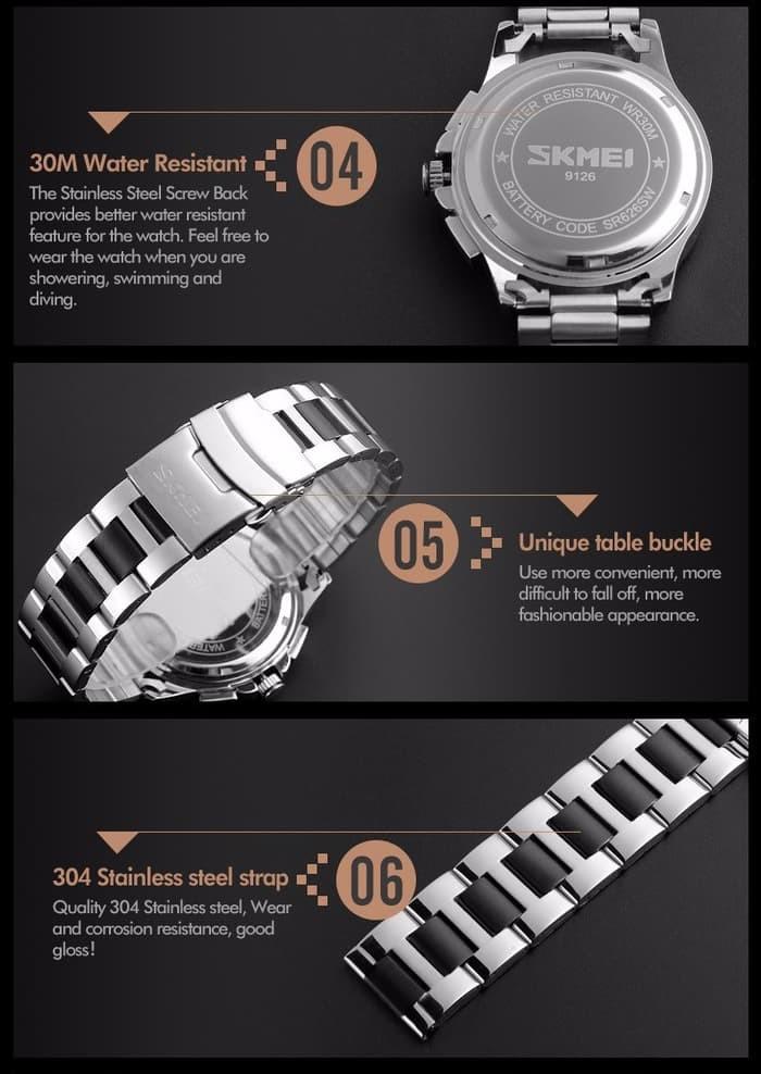 jual Jam Tangan Pria Original SKMEI 9126 Biru Stainless / Casio Edifice