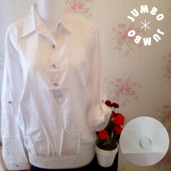 jual kemeja blus Putih wanita karet pinggang silk JUMBO