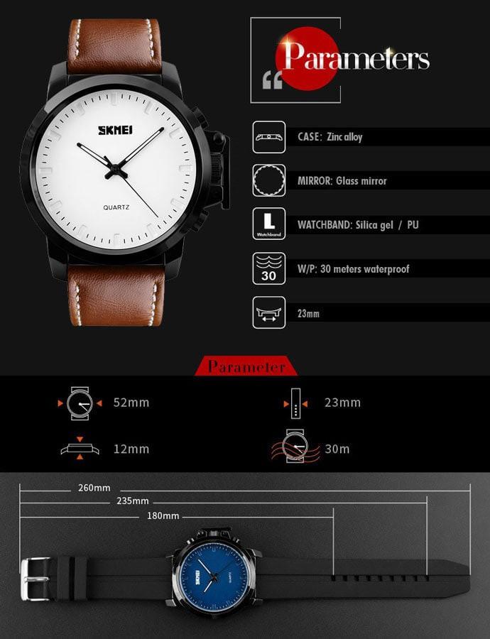 jual Jam Tangan Pria Casual SKMEI 1208 Original Leather Strap Anti Air 30M