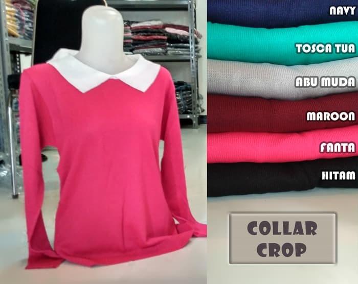 jual PROMO collar sweater crop BEST SELLER PUSAT PRODUKSI