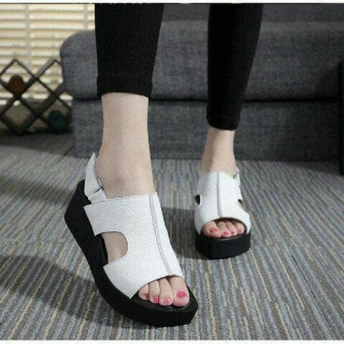 jual Sandal Wedges Wanita SDW232 - Putih, 38