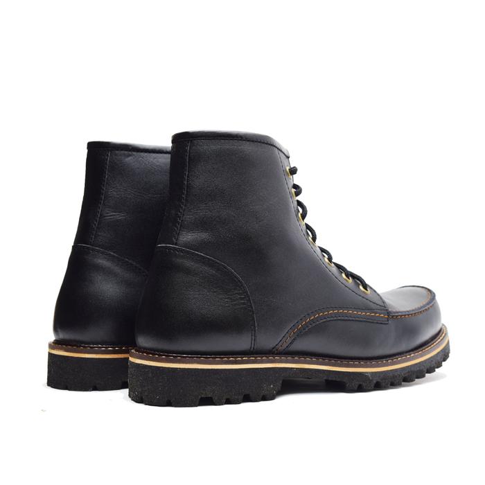 jual Sepatu Boots Gunung Pria Wetan Pajajaran Kulit Sapi Asli Bandung - Hitam, 45