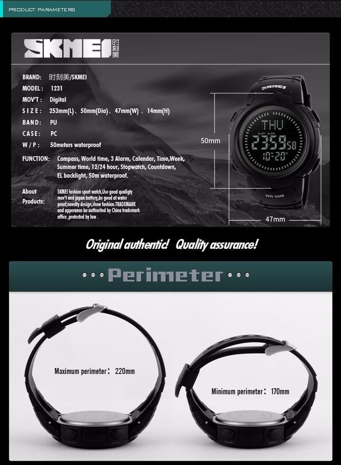 jual SKMEI Compass 1231 Original Jam Tangan Pria Sport Outdoor Anti Air 50M - Hitam