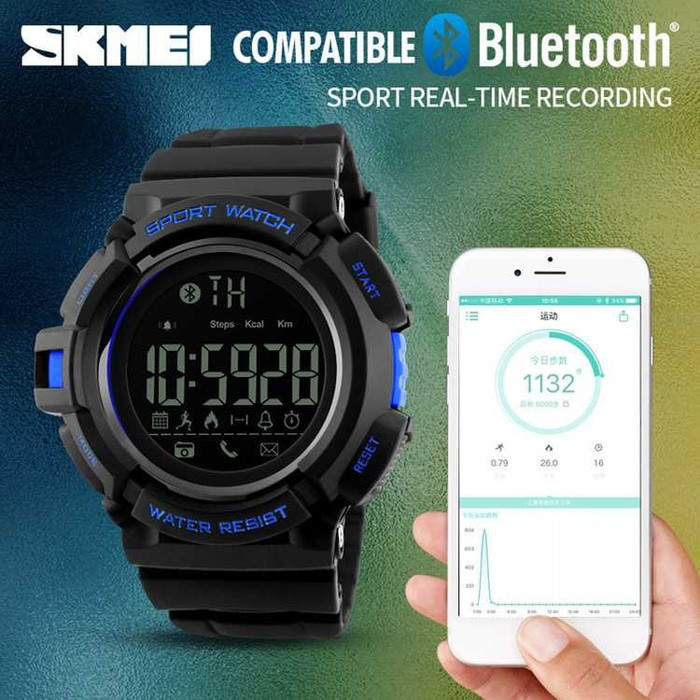 jual Smart Watch SKMEI 1245 Bluetooth Pedometer Water Resist 50M - Black