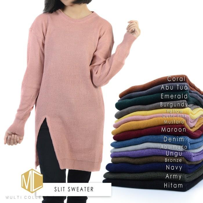 jual Slit sweater | sweater rajut | baju rajut | pakaian wanita | rajutan