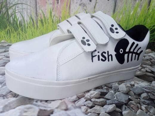 jual Sepatu Wanita Kets Casual Fish Cat SDS201 - Putih, 37