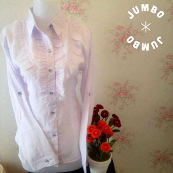 jual kemeja blus putih wanita kantor renda samping JUMBO