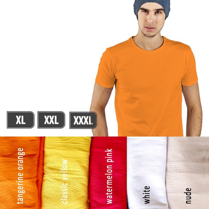 jual Kaos Polos Lengan Pendek Pria 100% Soft Combed XL XXL XXXL - Putih, XXL