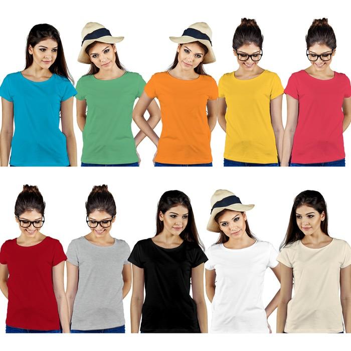 jual Kaos Polos Lengan Pendek Wanita 100% Soft Combed XS S M L - Hitam, XS