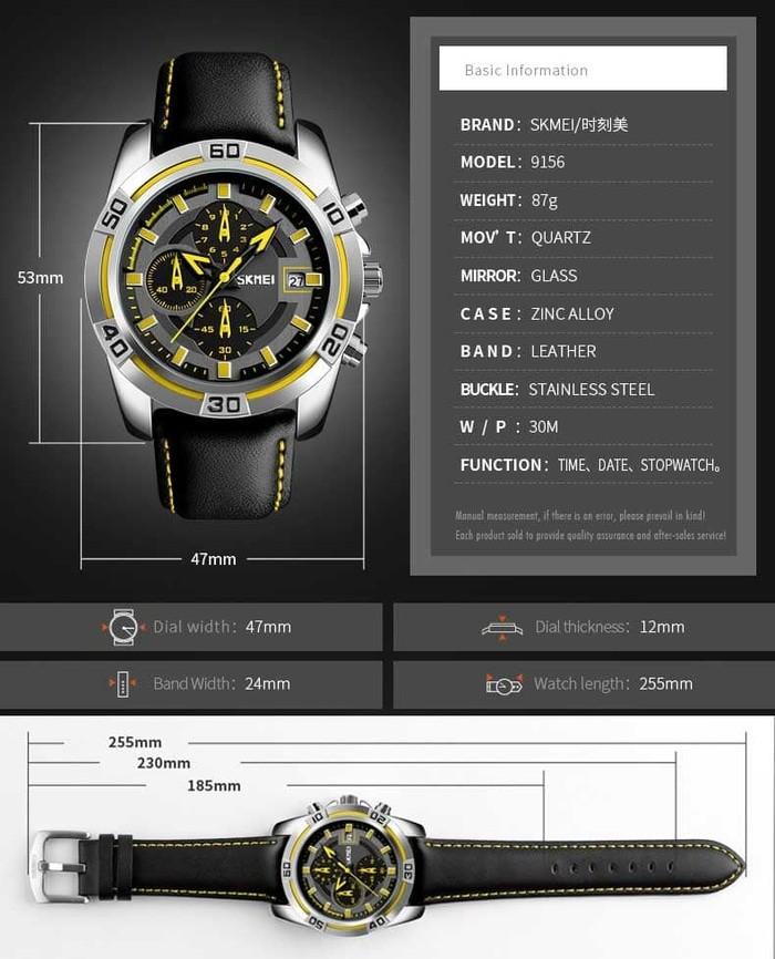 jual Jam Tangan Pria Original SKMEI 9156 Chronograph Anti Air 30M - Biru