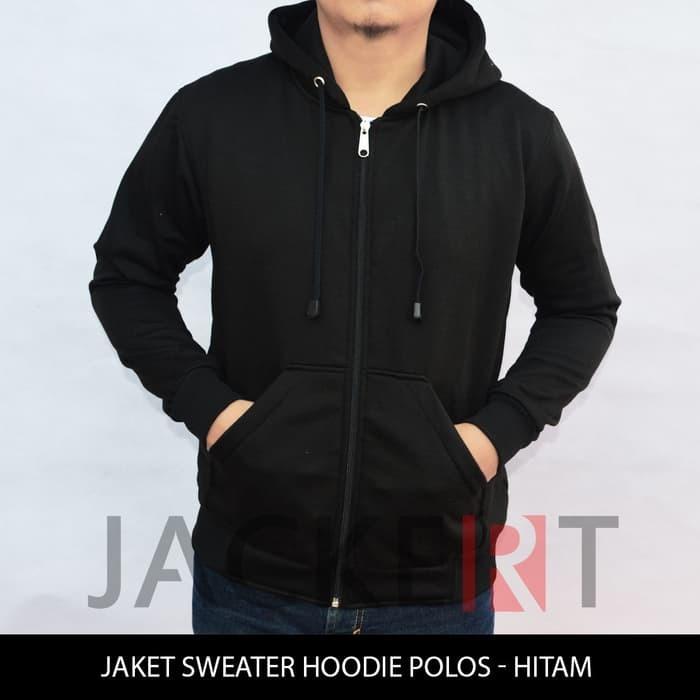 jual Jaket/Sweater Hoodie Hitam Polos (Zipper)
