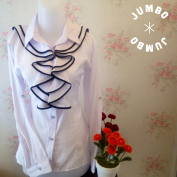 jual kemeja blus putih wanita renda hitam JUMBO