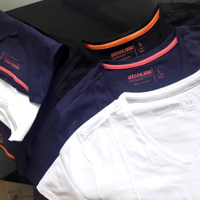 jual Kaos Polos Vneck Lengan Pendek Wanita 100% Soft Combed XS S M L - Hitam, XS