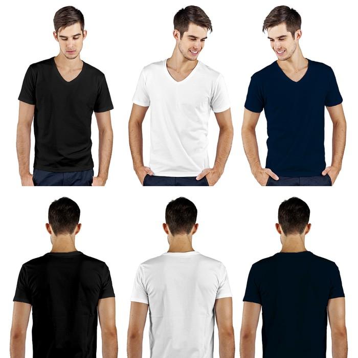 jual Kaos Polos Vneck Lengan Pendek Pria 100% Soft Combed XL - Putih, XL