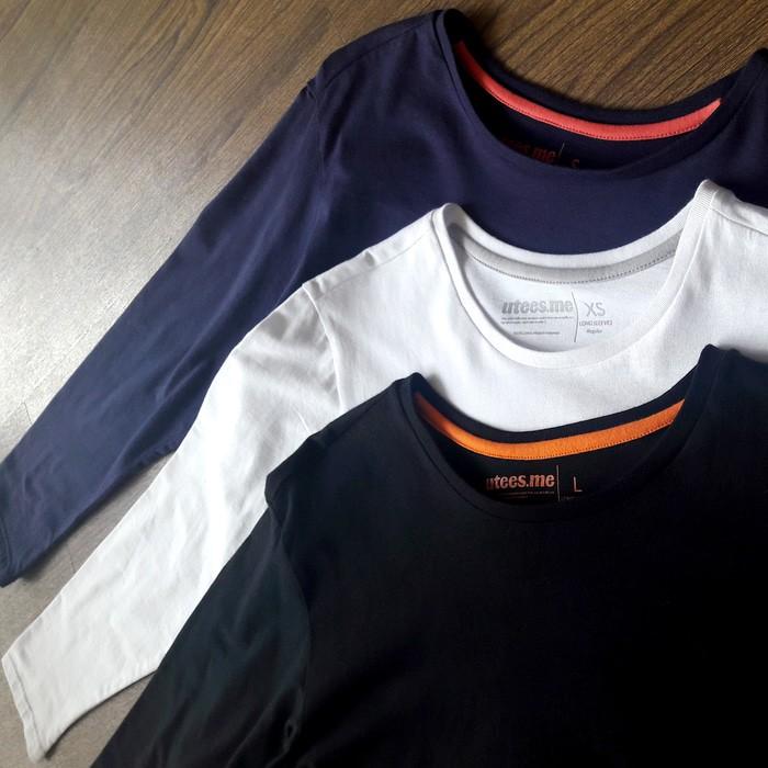 jual Kaos Polos Lengan Panjang Pria 100% Soft Combed XS S M L - Hitam, XS