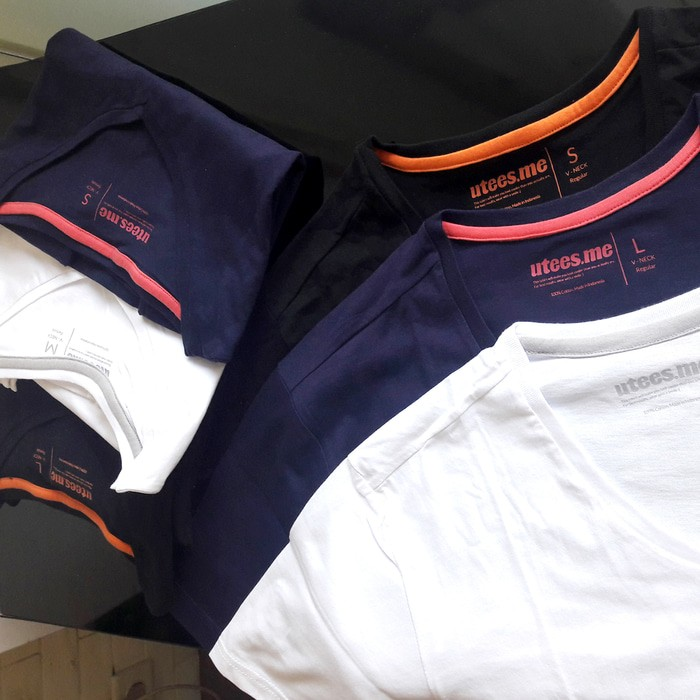 jual Kaos Polos Vneck Lengan Pendek Pria 100% Soft Combed XS S M L - Hitam, XS