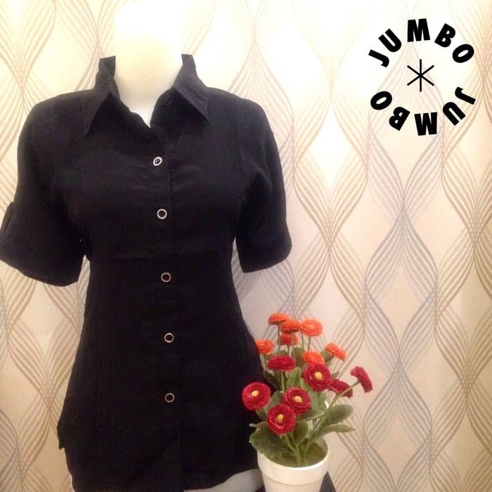 jual Kemeja blus wanita hitam polos zara lembut pendek Jumbo