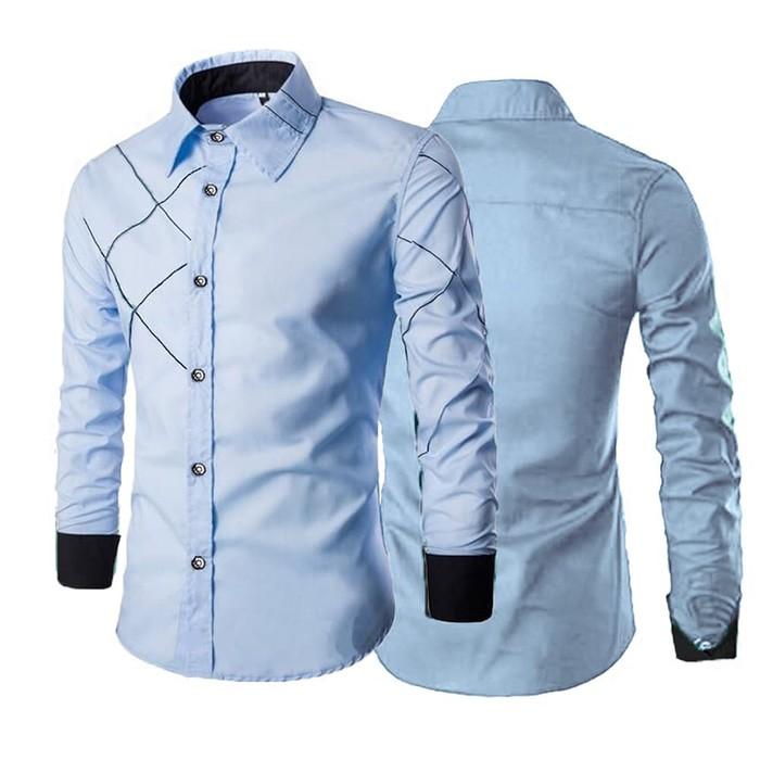 jual [New Delivio Royal Blue AK] kemeja pria katun stretch biru muda