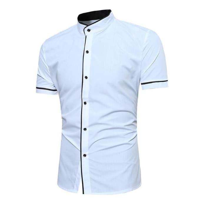 jual [trendy white OT] kemeja pria katun stretch lengan pendek putih
