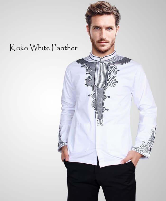 jual [koko white panther OT] baju koko pria katun stretch putih